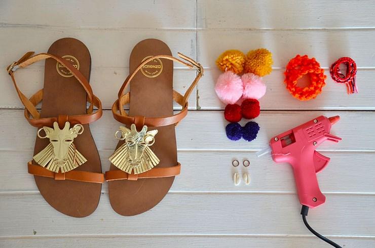 Diy chaussures customiser ses sandales pour l t - Comment decorer une boite a chaussures ...